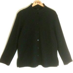 Eileen Fisher black sweater cardigan Wool Large